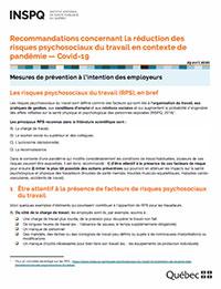 Recommandations concernant les risques psychosociaux du travail en contexte de pandémie